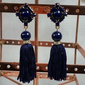 Navy Blue Tassel Hanging Earrings Bead Rhinestone